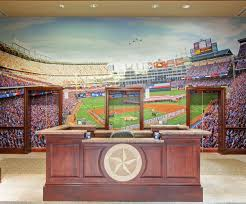 custom wallpaper custom wall murals megaprint the texas ranger s lobby tells you they are in the baseball business