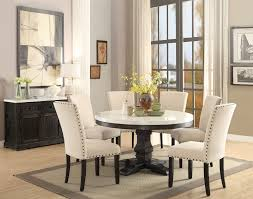 white marble top dining table set acme 72845 nolan 5pcs white marble top round dining table set