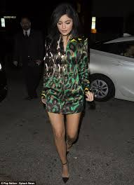 kylie jenner flaunts her long legs in green leopard print