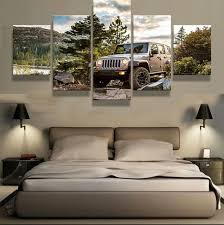 rugged home decor 5 pieces set canvas art hd prints rugged jeep fish canvas painting