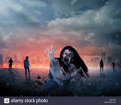 halloween photo background scary female zombie with burning city background halloween