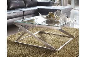 brushed nickel coffee table coylin coffee table ashley furniture homestore