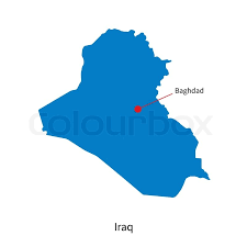 iraq map vector detailed vector map of iraq and capital city baghdad stock
