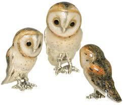 saturno silver and enamel owls barn owl ornaments connard