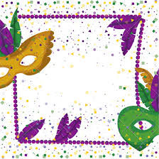 mardi gras frame carnival mardi gras poster with purple necklace frame with feathers