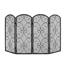 shop style selections 4 panel scroll fireplace screen at lowes com