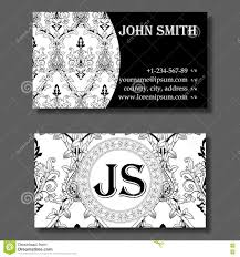 business card template black and white vintage pattern stock