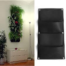4 pockets black hanging vertical wall garden planter flower