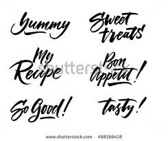 cooking lettering designs print web projects stock vector