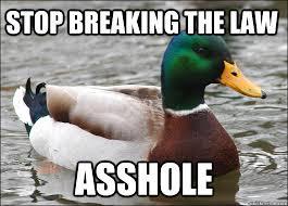 Stop Breaking The Law Meme - stop breaking the law asshole actual advice mallard quickmeme