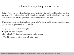 Credit Analyst Resume Sample by Bank Credit Analyst Application Letter