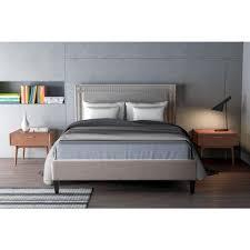 zuo renaissance dove gray queen sleigh bed 100571 the home depot