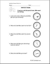 winter telling time primary elem word problems abcteach