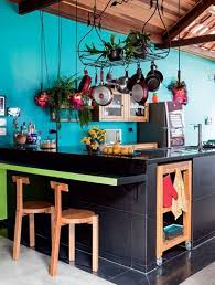 cuisine turquoise cuisine ouverte peinture bleu turquoise tendance