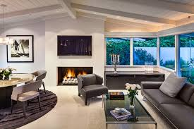 Vaulted Ceiling Tv Mount by Fireplace Vaulted Ceiling Living Room Midcentury With White Walls