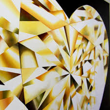 heart of gold a yellow heart shaped diamond painting by reena