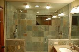 cool tile showers for modern bathroom design with wall lamp