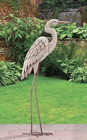 garden pond egret statue metal coastal bird sculpture crane heron