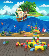 pirate ship underwater world custom wallpaper mural printing