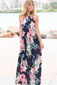 dark blue round neck floral pattern sleeveless casual maxi dress