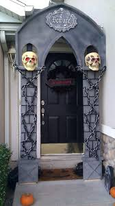 spooky front door decorations signals trick or treaters to stop by