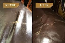 large dark brown circle leather repair patch by mastaplasta