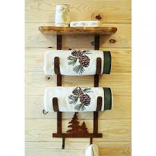 Bathroom Towel Tree Rack Pine Trees Towel Rack With Shelf Cabin Place