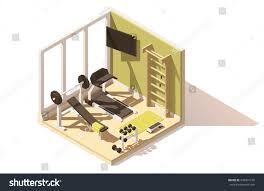 vector isometric low poly gym fitness stock vector 549901510