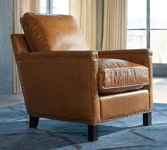 Upright Armchair Tyler Leather Armchair Pottery Barn