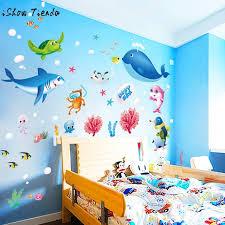 mur chambre enfant coloré poissons requin océan mur autocollants vinyle sticker mural