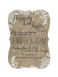 wedding reception invitation happily after party burlap and lace themed rustic shabby chic