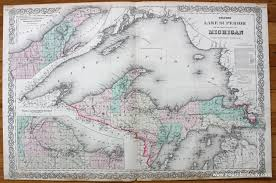 Map Of Upper Peninsula Colton U0027s Lake Superior And The Upper Peninsula Of Michigan Sold