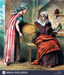 bible stories illustration of ruth taking home the barley that