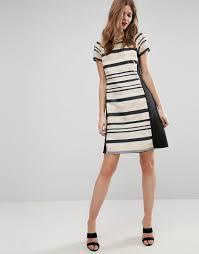 little mistress tall dress with striped panels print women evening