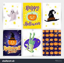 scary halloween lettering vector collection cartoon halloween spooky cards stock vector
