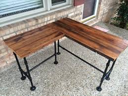 wood and pipe table reclaimed wood desk l desk corner desk office table solid