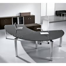 mobilier bureau direction bureau de direction arrondi avec retour must finition verre noir