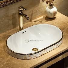 end drop in oval shaped modern bathroom sink