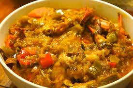cuisine legume eggplant with blue crabs caribbean green living