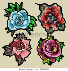 traditional tattoo style flowers set new stock vector 453711295