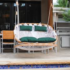 outdoor swing with footrest
