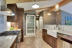 Kitchen With White Cabinets Contemporary Kitchen With Glass Panel U0026 Wood Counters In Excelsior
