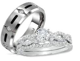 wedding rings his and hers his hers 3 cz inifinity sterling silver titanium wedding