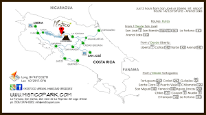 Map Of San Jose Costa Rica by Map Mistico Arenal Hanging Bridges Park