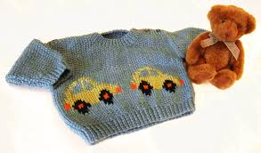 car motif baby knitting pattern babies sweater with intarsia