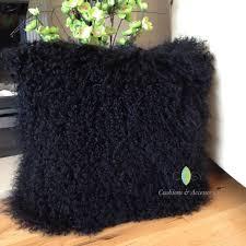 Mongolian Lamb Cushion Black 40 X 40cm Genuine Mongolian Sheepskin Lamb Fur Cushion With