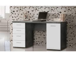 bureau tiroirs bureau 1 porte 4 tiroirs johan béton blanc mat