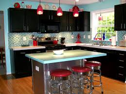 retro kitchen cabinets white granite countertop in open kitchen