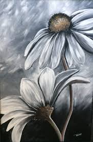 black and white acrylic painting by trish jones art