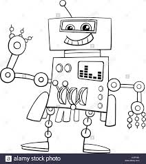 black and white cartoon illustration of robot science fiction or